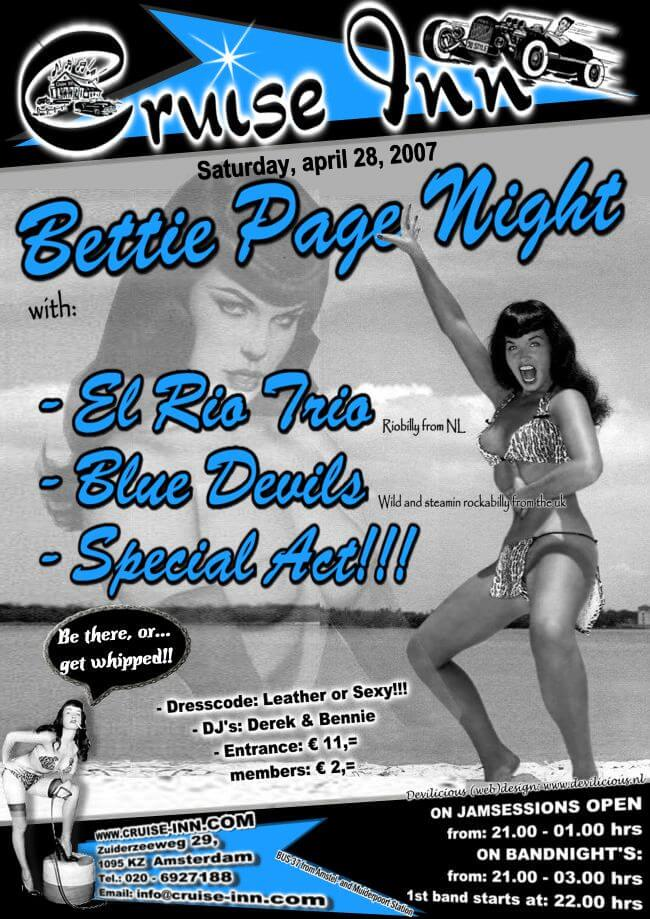 poster april 2007 - Bettie Page Night - rock n roll bandnight