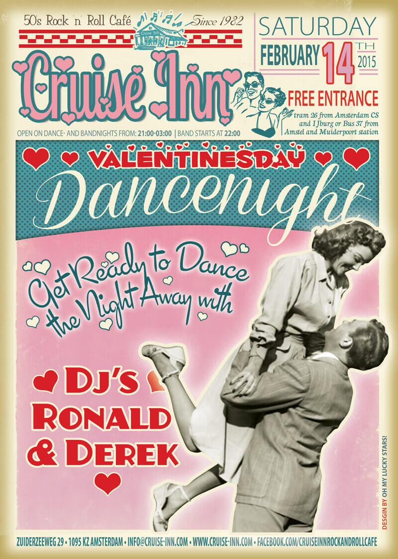 poster Valentines dancenight 2015 - rock n roll dj night