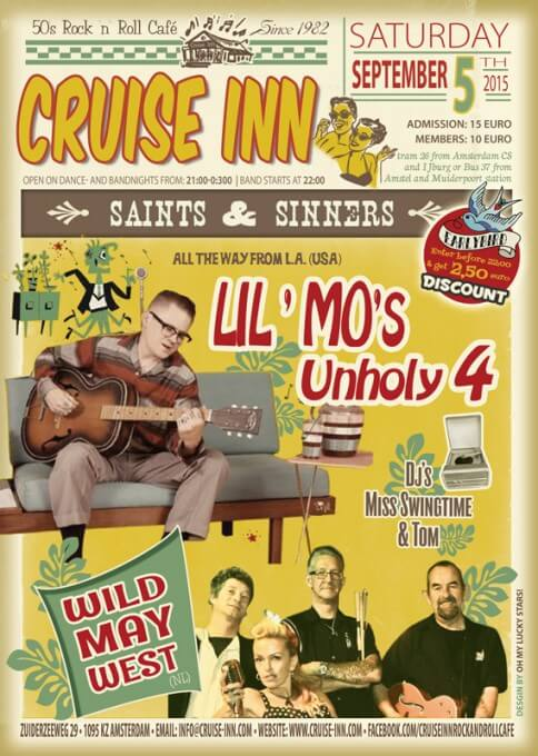 Poster bandnight - Lil Mo-s and Unholy 4 / Wild May West -  3 sept 2015 - Cruise Inn