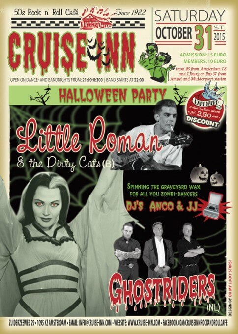 Poster Halloween bandnight - Litlle Roman (B) / Ghostriders (NL) -  31 okt.  2015 - Cruise Inn