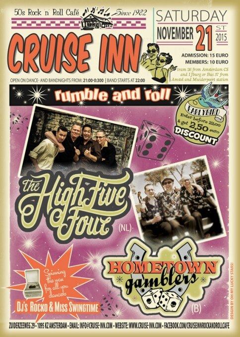 Poster bandnight - High Five Four (NL) / Hometown Gamblers (B) -  21-11-2015 - Cruise Inn