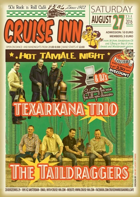 Rock and roll bandnight flyer 27 -08 -2016 | Texarkana Trio / The Taildraggers