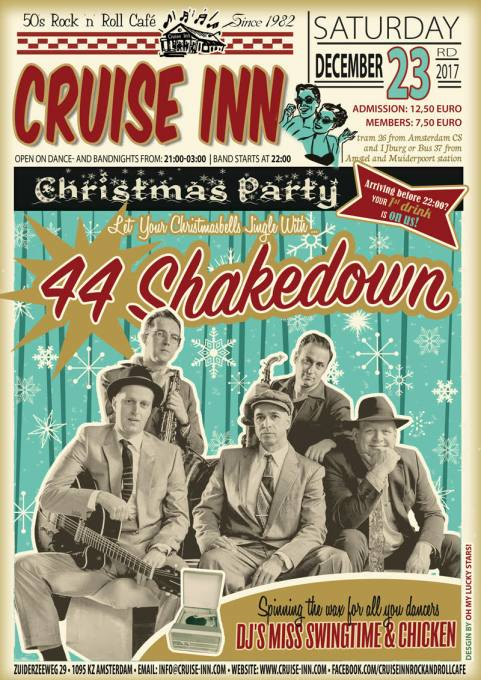Flyer Christmas Party - 23 dec. 2017 - 44 Shakedown - Cruise Inn - Amsterdam rock n roll cafe