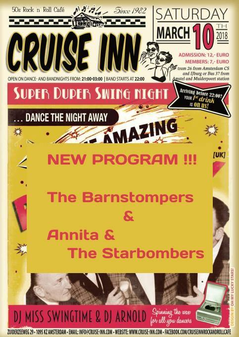 Last Minute progam change: The Barnstompers - Annita & The Starbombers