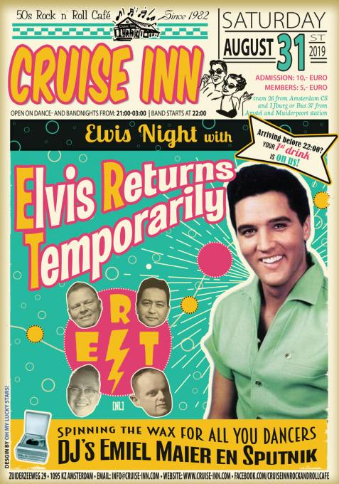 Elvis Night with live bands 2019 - Cruise Inn, rock n roll cafe bandflyer
